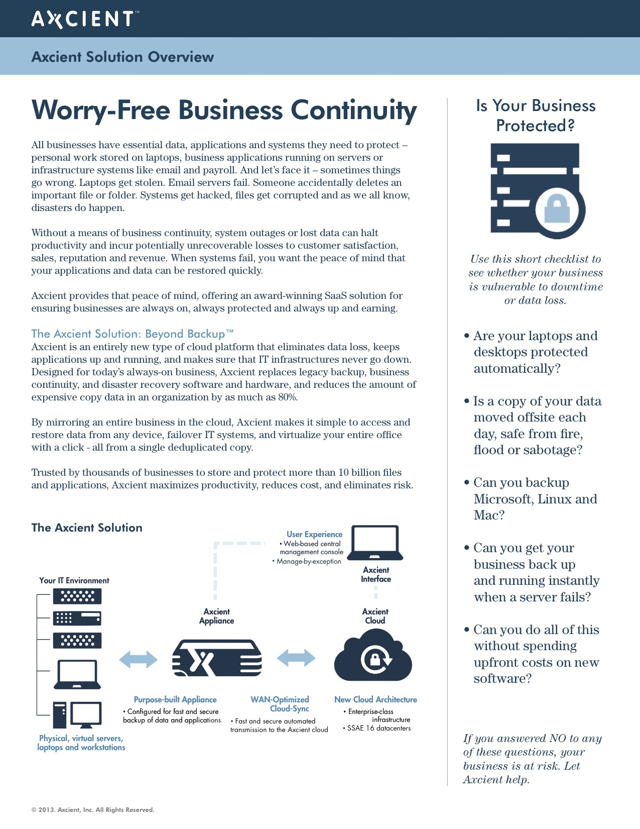 Worry Free Business Continuity